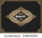 art deco frame and label design ... | Shutterstock .eps vector #458029009