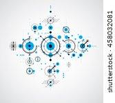 bauhaus blue abstract... | Shutterstock . vector #458032081