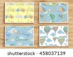 set of four vintage seamless... | Shutterstock .eps vector #458037139