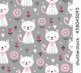Stock vector seamless pattern with cute cats vector picture with squint kittens and flowers on a gray 458045095