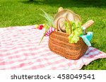 picnic basket full of food and... | Shutterstock . vector #458049541