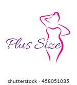 logo plus size woman. curvy...   Shutterstock .eps vector #458051035