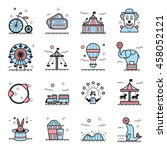 amusement park icons in linear... | Shutterstock .eps vector #458052121