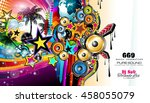 club disco flyer template with... | Shutterstock .eps vector #458055079