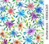 watercolor floral pattern with... | Shutterstock . vector #458061265