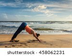 yoga outdoors   young sporty... | Shutterstock . vector #458062231