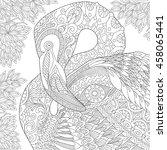 stylized flamingo bird among... | Shutterstock .eps vector #458065441
