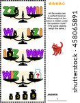 Visual Math Puzzle With Scales...
