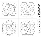 geometrical line ornaments. set ... | Shutterstock .eps vector #458070589