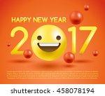 3d smiley emoticon in 2017... | Shutterstock .eps vector #458078194