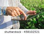 farmer using digital tablet... | Shutterstock . vector #458102521