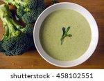 cream of broccoli soup in a... | Shutterstock . vector #458102551