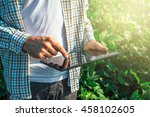 farmer using digital tablet... | Shutterstock . vector #458102605