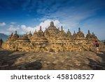 borobudur temple at yogyakarta  ... | Shutterstock . vector #458108527
