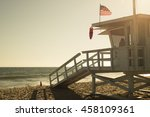 santa monica beach lifeguard... | Shutterstock . vector #458109361