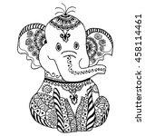 cute vector elephant. hand... | Shutterstock .eps vector #458114461