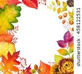 Autumn Leaf Frame. Watercolor...