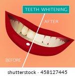 healthy woman smile vector... | Shutterstock .eps vector #458127445