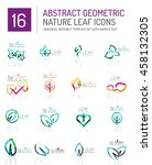 geometric leaf icon set. thin... | Shutterstock . vector #458132305