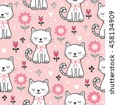 Stock vector seamless pattern with cute cats vector illustration with white kittens and flowers on a pink 458134909
