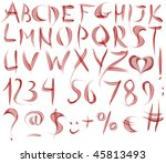 red watercolour alphabet | Shutterstock . vector #45813493