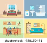 Apartment inside. Detailed modern house interior. Rooms with furniture. Flat style vector illustration. | Shutterstock vector #458150491
