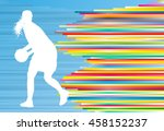 basketball player woman... | Shutterstock .eps vector #458152237