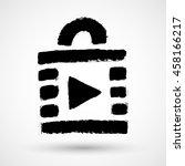 grunge play lock video icon...