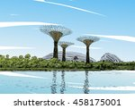 singapore. gardens by the bay.... | Shutterstock .eps vector #458175001