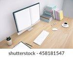 creative wooden office desktop...   Shutterstock . vector #458181547