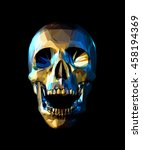 Low Poly Gold Skull With Blue...