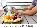 selected focus fresh fruit on... | Shutterstock . vector #458195404