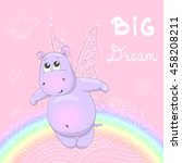 small  cute hippo with wings.... | Shutterstock .eps vector #458208211