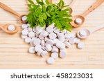 medicine herb. herbal pills... | Shutterstock . vector #458223031