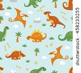 seamless pattern with dinosaur... | Shutterstock .eps vector #458233255
