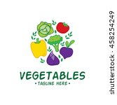 vegetable and healthy food logo ... | Shutterstock .eps vector #458254249