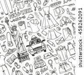 fashion wear seamless pattern... | Shutterstock .eps vector #458262091