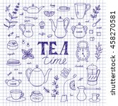 doodle tea time elements... | Shutterstock .eps vector #458270581