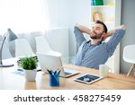 young worker having break and... | Shutterstock . vector #458275459