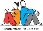 couple man and woman sitting... | Shutterstock .eps vector #458275549