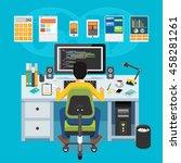 mobile application developer.... | Shutterstock .eps vector #458281261