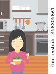 an asian young pregnant woman... | Shutterstock .eps vector #458305861