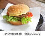 hamburger with cheese and bacon | Shutterstock . vector #458306179
