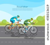 cycle racing people on bicycles ... | Shutterstock .eps vector #458313619