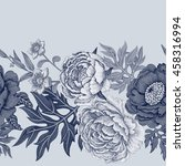 black and white floral seamless ... | Shutterstock . vector #458316994