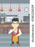 an asian young waiter holding a ... | Shutterstock .eps vector #458320039