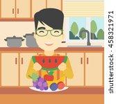 an asian man eating watermelon... | Shutterstock .eps vector #458321971