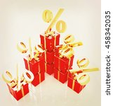 percentage and gifts on a white ... | Shutterstock . vector #458342035