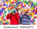 happy preschool age children... | Shutterstock . vector #458346571