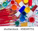 paints  brushes and palette on... | Shutterstock . vector #458349751